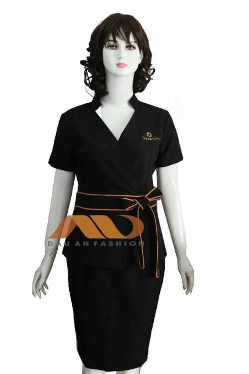 Đồng phục lễ tân spa màu đen nơ chéo AS0131