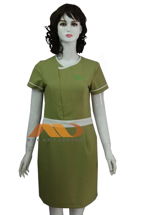 Đồng phục nhân viên tư vấn váy xanh AS0129