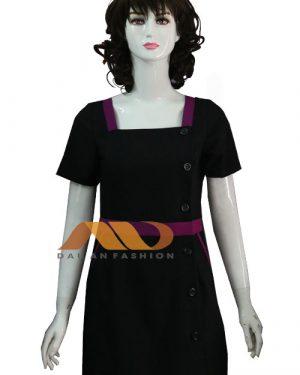Váy đồng phục spa đen viền tím as0145