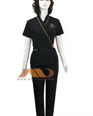 Đồng phục spa đen viền vàng vạt chéo qs0085