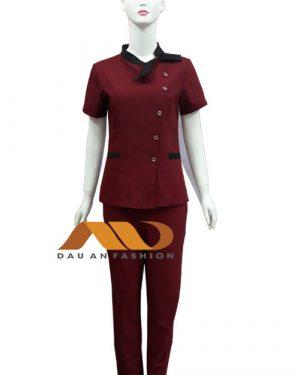 Đồng phục spa đỏ đô qs0008