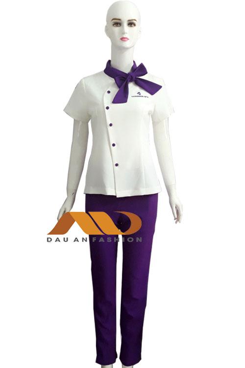 Đồng phục spa trắng phối tím