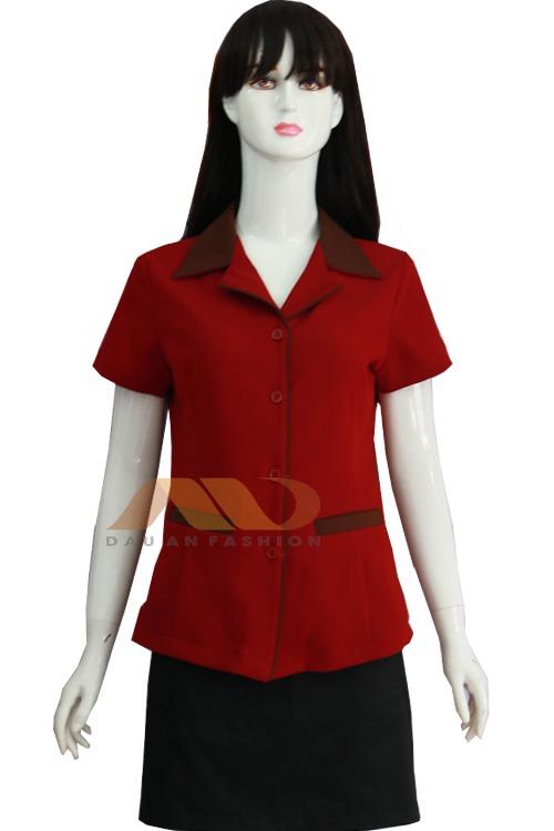 Đồng phục nhân viên spa áo tay ngắn đỏ đen AS0049