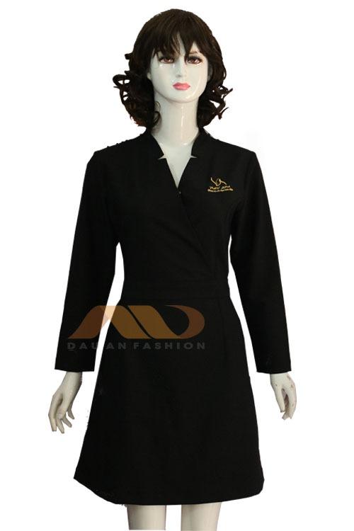 Váy đồng phục spa đen tay dài