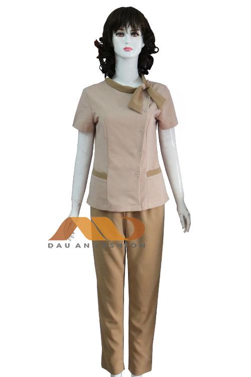 Đồng phục spa nâu thắt nơ qs0097