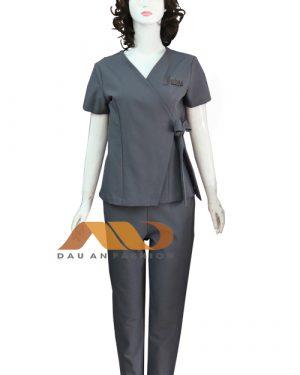 Đồng phục spa màu xám thắt nơ qs0103