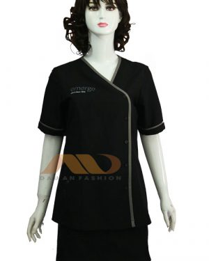 Áo đồng phục nhân viên spa màu đen AS0117