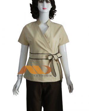 Đồng phục spa kem viền nâu qs0089