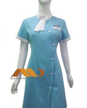 Đồng phục spa đầm màu xanh phối trắng AS0001