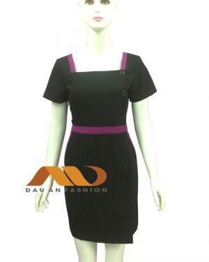 Đồng phục spa đầm đen phối hồng AS0002