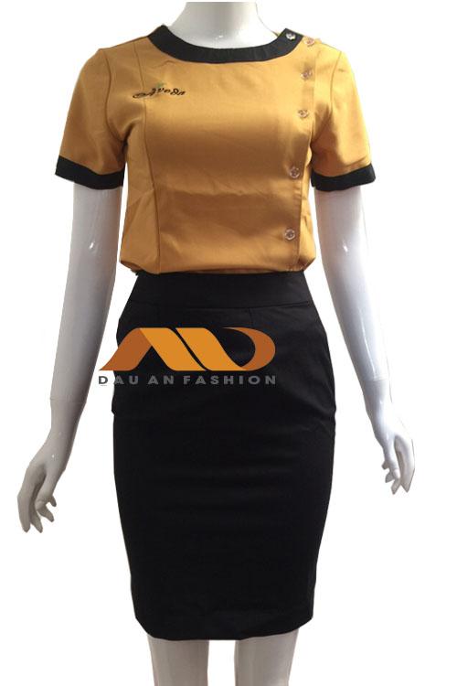 Đồng phục nhân viên đầm màu vàng phối đen
