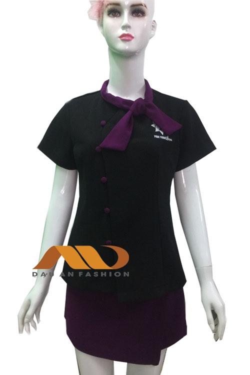 Đồng phục spa áo váy màu đen phối tím AS0008