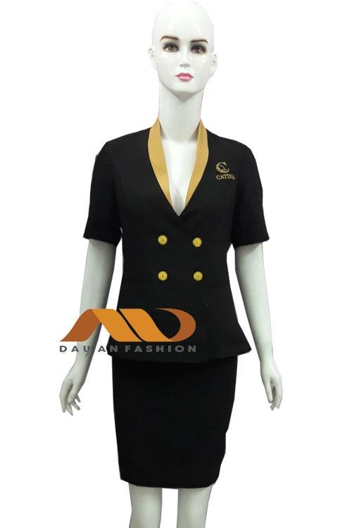 Đồng phục nhân viên áo vest đen phối vàng AS0009