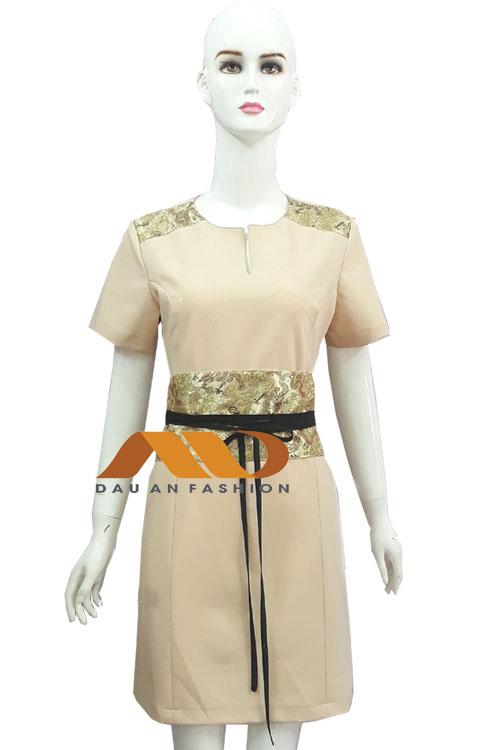 Đồng phục spa đầm màu kem họa tiết AS0015
