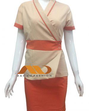 Đồng phục nhân viên áo tà xéo tay ngắn kem phối cam AS0022