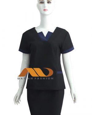 Đồng phục nhân viên áo tay ngắn đen phối xanh dương