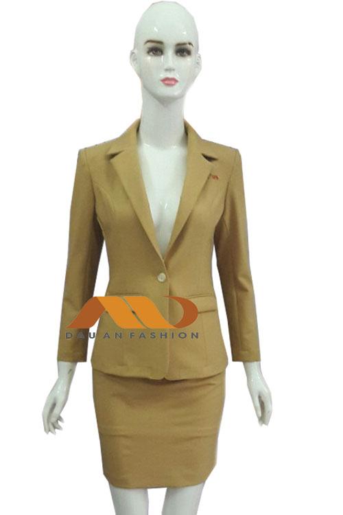 Đồng phục lễ tân spa áo vest vàng tay dài AS0011