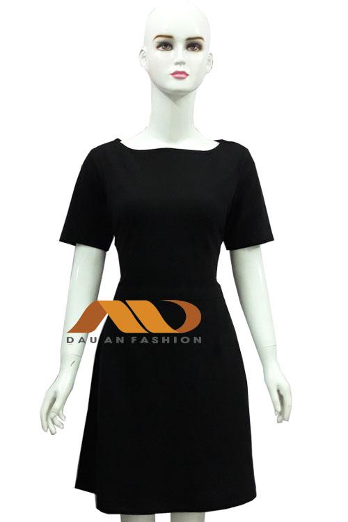 Đồng phục spa đầm màu đen AS0017