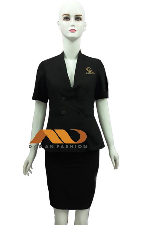 Đồng phục nhân viên áo vest tay ngắn màu đen QS0029