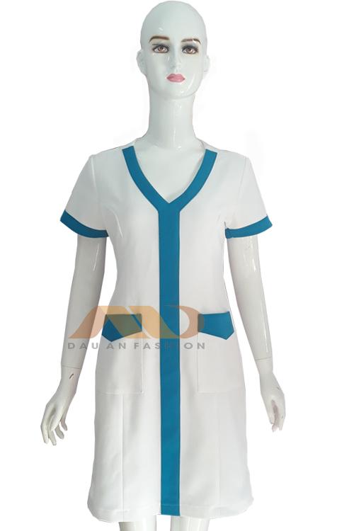 Đồng phục nhân viên đầm trắng phối xanh AS0045