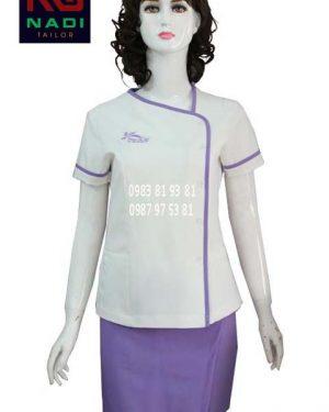 Đồng phục nhân viên spa trắng phối tím SPA005