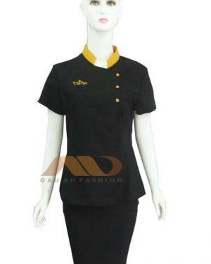 Đồng phục nhân viên spa đen phối vàng đồng SPA007