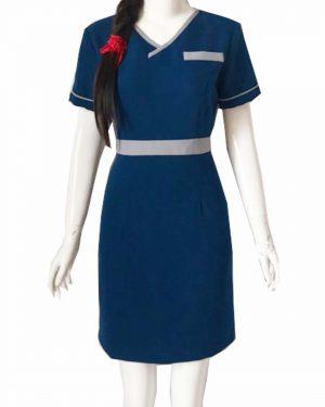 Đồng phục nhân viên spa xanh phối xám