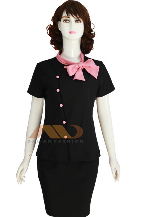 Đồng phục nhân viên đầm đen phối nơ hồng