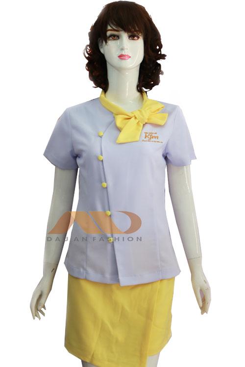 Đồng phục nhân viên spa trắng phối vàng AS0071