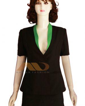Đồng phục nhân viên vest đen phối xanh lá AS0059