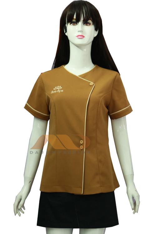 Đồng phục nhân viên áo tay ngắn màu nâu viền trắng