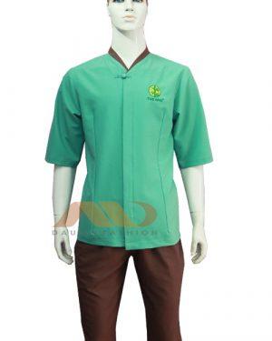 Đồng phục spa xanh viền nâu qs0070