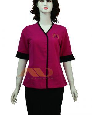 Đồng phục nhân viên đầm hồng phối đen AS0097