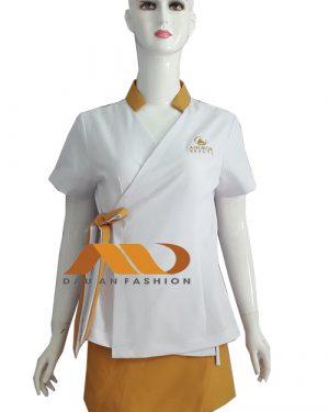 Đồng phục nhân viên áo tay ngắn tà xéo AS0035