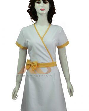 Váy đồng phục spa trắng viền vàng as0101