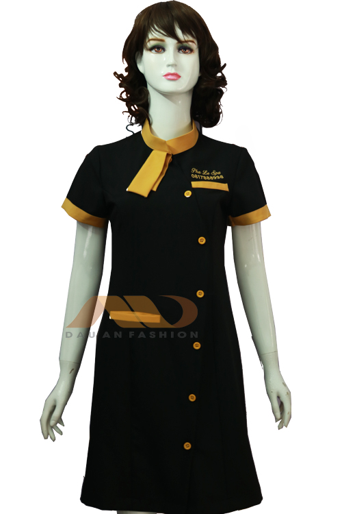 Đồng phục spa, đồng phục đầm spa màu đen nơ vàng AS0087