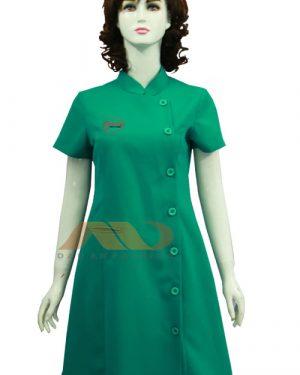 Đồng phục nhân viên đầm màu xanh cổ trụ AS0081