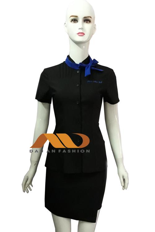 Đồng phục spa đen phối nơ xanh dương as0033