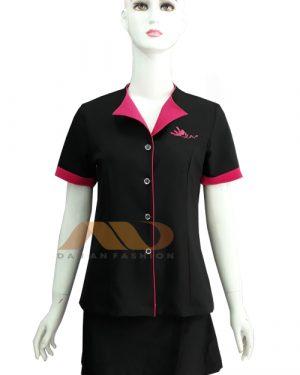 đồng phục nhân viên spa áo tay ngắn đen phối hồng as0047