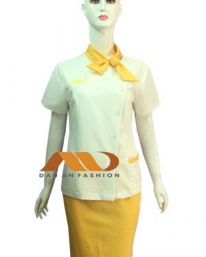 Đồng phục nhân viên spa áo tay ngắn cổ nơ trắng phối vàng AS0031