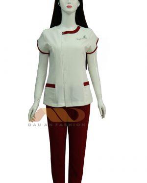 Đồng phục spa trắng viền đỏ ở cổ qs0035