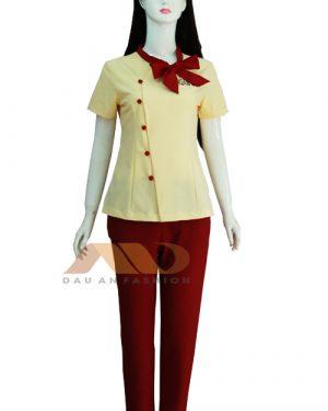Đồng phục spa vàng phối đỏ qs0033