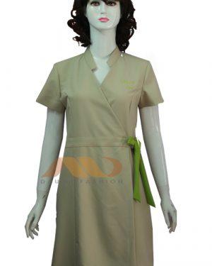 Váy đồng phục spa cổ chéo thắt nơ