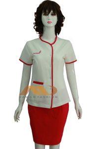 Đồng phục nhân viên đầm trắng phối đỏ AS0075