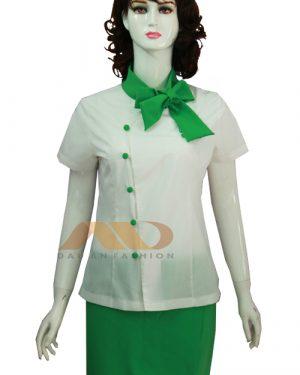 Đồng phục nhân viên đầm trắng phối xanh AS0085
