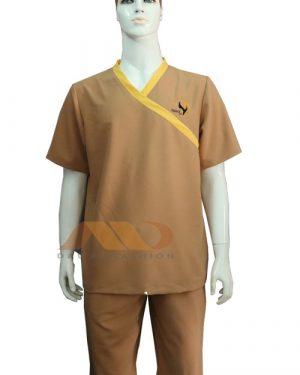 Đồng phục spa nâu viền vàng