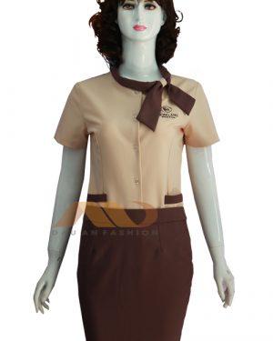 Đồng phục nhân viên spa đầm nâu thắt nơ AS0065