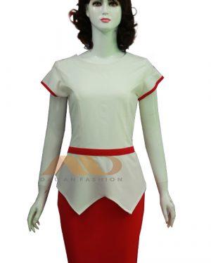 Đồng phục nhân viên spa cổ tròn trắng phối đỏ AS0067