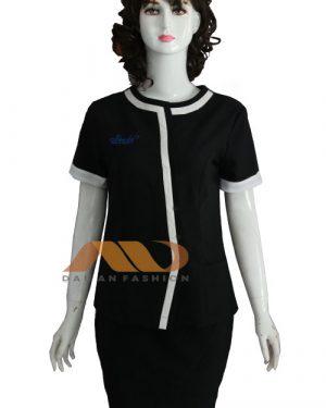 Đồng phục nhân viên đầm đen viền trắng AS0133