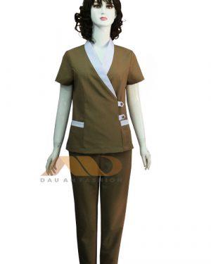 Đồng phục spa nâu phối trắng as0115